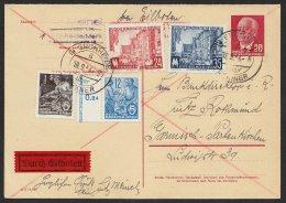 P 61 I, Komplette Doppelkarte Mit Pass. Zusatzfrankatur Per Eilboten, Selten ! - [6] Democratic Republic