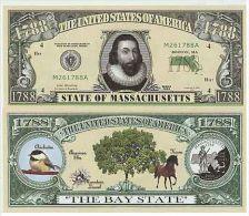 Billet de collection USA NM-106 Massachusetts State Million Dollars Paper Money Collector unc