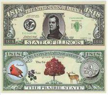 Billet de collection USA NM-110 Illinois State Million Dollars Paper Money Collector unc