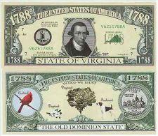 Billet de collection USA NM-112 Virginia State Million Dollars Paper Money Collector unc