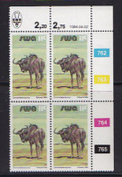 SOUTH WEST AFRICA, 1984, MNH Control Blocks, Blue Wildebeest, M 553 - South West Africa (1923-1990)