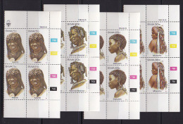 SOUTH WEST AFRICA, 1984, MNH Control Blocks, Hair Dressing, M 554-557 - South West Africa (1923-1990)