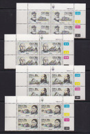 SOUTH WEST AFRICA, 1989, MNH Control Blocks, Missionares, M 633-636 - South West Africa (1923-1990)