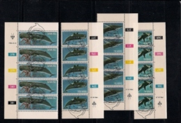 SOUTH WEST AFRICA, 1980, CTO Control Strips, Whales, M 466-471 - South West Africa (1923-1990)
