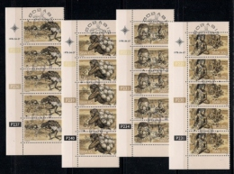 SOUTH WEST AFRICA, 1978, CTO Control Strips, Bushmen, M 444-447 - South West Africa (1923-1990)