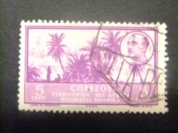AFRIQUE OCCIDENTALE ESPAGNOLE 1950 PAYSAGE ET EFFIGIE DE FRANCO Edifil Nº 4 º FU - Sahara Spagnolo