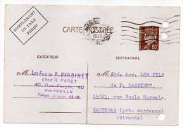 CP Pétain--Type Lemagny 80c Brun-rouge Sur N°CP 383--Complément Taxe Perçu-cachet Mécanique MARSEILLE  Du 29-8-1942----- - Entiers Postaux