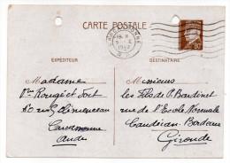 CP Pétain--Type Lemagny 80c Brun-rouge Sur N°CP 383-cachet Mécanique CARCASSONNE RP  Du 9-1-1942----- - Entiers Postaux