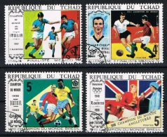 TCHAD 1970 - Mondiale De Foot, México 1970 - 4 Val Obl. // Très Rares - Tchad (1960-...)