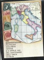 ITALIA REPUBBLICA ITALY  8 4 1961 MANIFESTAZIONE FILATELICA SCALIGERA VERONA CENTENARIO UNITA' CARTOLINA POST CARD - Manifestazioni