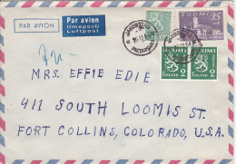 Finland Airmail Cover To USA       (Red-1409) - Finland