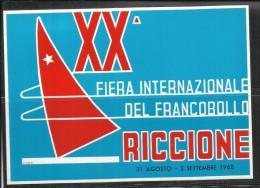ITALIA REPUBBLICA ITALY  XX FIERA INTERNAZIONALE DEL FRANCOBOLLO DI RICCIONE 31 AGOSTO 1968 CARTOLINA POST CARD - Manifestations