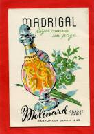 CARTE PARFUMEE MADRIGAL DE MOLINARD GRASSE PARIS PARFUMEUR PARFUM DISTILLATEUR DE FLEURS - Perfume Cards