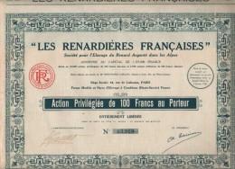 ACTIONS -LES RENARDIERES FRANCAISES- Societe Pour L'elevage Du Renard Argenté Dans Les Alpes(AVEC COUPONS) - Actions & Titres