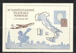 ITALIA REPUBBLICA ITALY III MANIFESTAZIONE FILATELICA MODENESE ESPOSIZIONE 8 GENNAIO 1961 CARTOLINA POST CARD - Manifestations