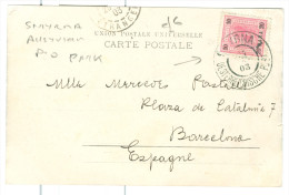 1903 Smyrna Osterreichische Post Postmark On Egypt Camel Train Pc To Spain - 1850-1918 Empire