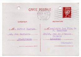 CP Pétain--Type Lemagny 1f20  Brun-rouge Sur CP---cachet Mécanique St ETIENNE RP  Du 3-6-1942---Kirsch - Entiers Postaux