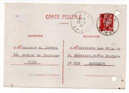 CP Pétain--Type Lemagny 1f20  Brun-rouge Sur CP -cachet Manuel  FOIX--09  Du  19-5-1942-- - Entiers Postaux