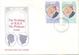 TRISTAN DA CUNHA ENVELOPE ENVELOPPE FDC THE WEDDING OF H.R.H. THE PRINCESS ANNE 1973 TBE - Tristan Da Cunha