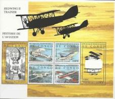 Congo Democratische Republiek, Blok, Vliegtuigen Jaar 2001, Postfris, Zie Scan - Vliegtuigen