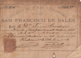 "*E646 CUBA SPAIN ESPAÑA OLD INVOICE 1896 \""COLEGIO DE NIÑAS\"" CHILDREN SCHOOL. + REVENUE TIMBRE MOVIL 1896 - España"