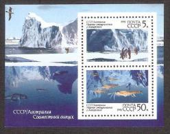 Polar Philately 1990 USSR MNH  Sheet  Mi BL 213  USSR-Australian Scietific Co-operation In Antarctica - 1923-1991 USSR