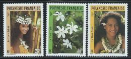 """French Polynesia      """"Tiare Flowers""""         Set     SC# 552-54     MNH** - French Polynesia"""