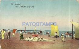14819 ITALY PIETRA LIGURE SAVONA VIEW BEACH CIRCULATED TO ARGENTINA BREAK POSTAL POSTCARD - Italia