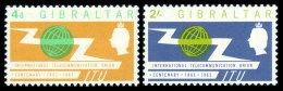 Gibraltar, 1965, Centenary Of The International Telecommunication Union, ITU, Michel #169-70, Scott #167-8, MNH, Perf... - Gibraltar