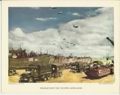 1955-4 Superbes Gravures/photos Du Débarquement  Des Troupes Américaines  En 1944- - Old Paper
