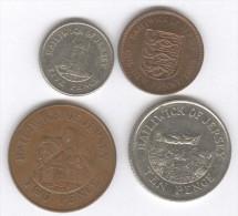 Série Jersey 1 , 2 , 5 , 10 Pence - 1980 1992 - Jersey