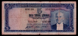 Turkey 5 Lira 1952 VG - Turchia