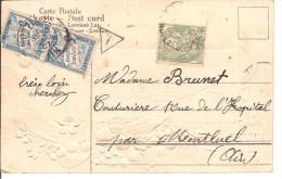Sur Tres Belle Carte Postal Timbre Taxe 5 C X 2 + Type Blanc 5c  2 Scan - Marcophilie (Lettres)