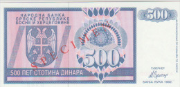Bosnia & Herzegovina 500 Dinara 1992 Pick 136s UNC - Bosnia Y Herzegovina