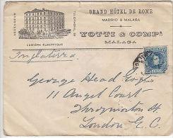 Spain: Printed Cover, Grand Hotel De Rome, Malaga, To London, 18-21 Jan 1903 - Unclassified