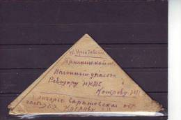 MCOVERS -7- 80 TRIANGLE  LETTER FROM ENGELS TO STATION URSAT´EVSKAYA (KHAVAST) WITH THE WAR CENZURA MARK. 14.04.1943
