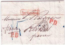 """1860-lettre De St Petersbourg  """" Franco """" Manuscrit + P D Rouge X 2  + Aus Russland Encadrée Rouge - 1857-1916 Empire"""