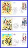 1729-1730-1731 (Yvert) Sur 3 FDC Illustrées Sur Soie (GF-PJ) - Histoire De France - France 1972 - FDC