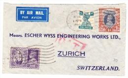 Indien 19.1.1946 Calcutta Luftpost O.A.T. Brief Nach Zürich - Poste Aérienne