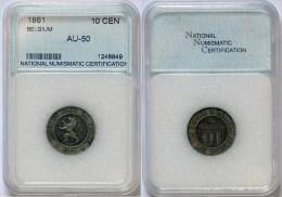 Belgium Leopold I 10 Cent 1861 -NNC AU-50 - 1831-1865: Léopold I