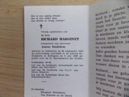 Doodsprentje Richard Marginet Onkerzele 25/9/1913 Zottegem 6/7/1993 ( Joanna Kindekens ) - Religion & Esotericism