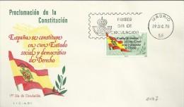 ESPAÑA SPD FDC CONSTITUCION ESPAÑOLA BANDERA - Briefe