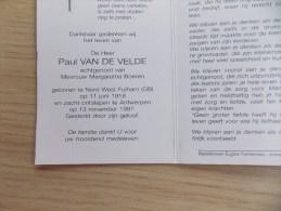 Doodsprentje Paul Van De Velde - Nord West Fulham (GB) 11/6/1918 Antwerpen 13/11/1997 ( Margaretha Boeren ) - Religion & Esotérisme