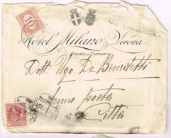 XW 1091 10 Centesimi + Segnatasse Da 10 Centesimi Viaggata 1919 - Busta Hotel Milano Verona - 1900-44 Vittorio Emanuele III