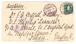 Schweiz 16.7.1885 Genève 25Rp. Stehende Auf Brief Nach England - Suisse