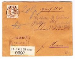Schweiz 10.2.1894 St Gallen Wertbrief Mit Siegel 20Rp. Stehende Nach Herisau - 1882-1906 Armoiries, Helvetia Debout & UPU