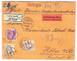 Schweiz 11.12.1908 Rorschach R-Brief Deklarierter Wert Nach Cöln Mischfrankatur Stehende Und Brustbild Helvetia Attest - 1882-1906 Armoiries, Helvetia Debout & UPU