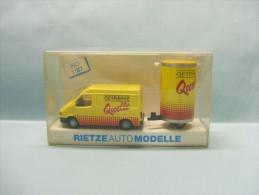 Rietze - FORD TRANSIT QUELLE BIERE BEER + REMORQUE Camionnette Fourgonnette Jaune 80092 Neuf NBO HO 1/87 - Véhicules Routiers
