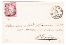 Schweiz 21.10.1861 Bern 15Rp. Strubel Brief Nach Vevey - 1854-1862 Helvetia (Non-dentelés)