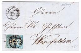 Schweiz 31.3.1859 Kreuzlingen Fingerhutstempel 10Rp. Strubel Auf Brief Nach Weinfelden - Lettres & Documents